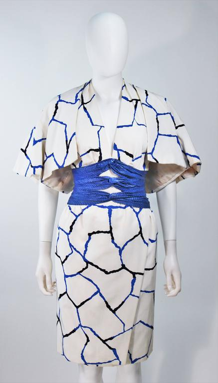 JACQUELINE DE RIBES Halter Dress with Cobalt Snakeskin Waist and Bolero Size 4-6 2
