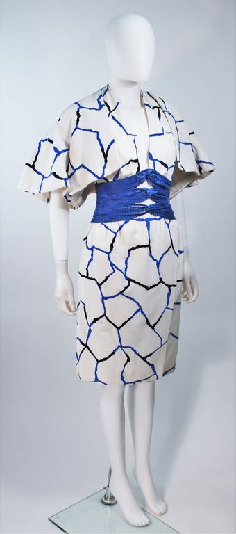 JACQUELINE DE RIBES Halter Dress with Cobalt Snakeskin Waist and Bolero Size 4-6 5