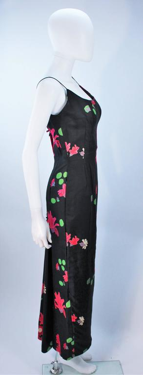 Vintage Black Floral Silk Gown with Pleat Detail Size 2-4 For Sale 3