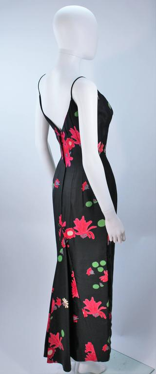 Vintage Black Floral Silk Gown with Pleat Detail Size 2-4 For Sale 4