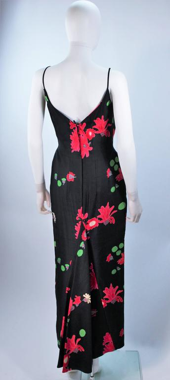 Vintage Black Floral Silk Gown with Pleat Detail Size 2-4 For Sale 5
