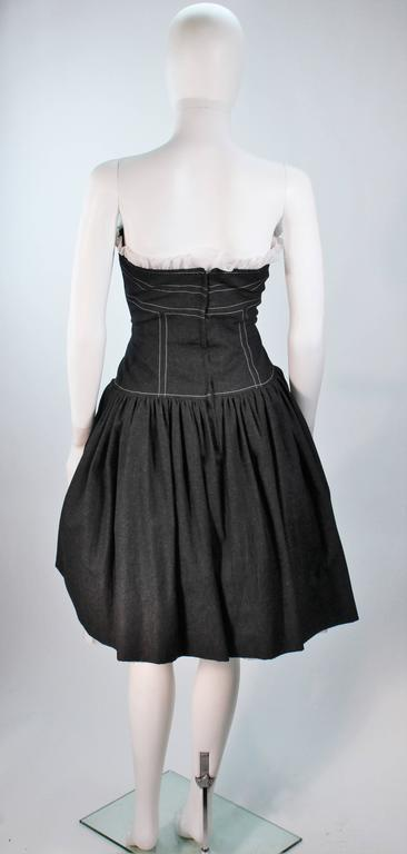 Travilla Black Denim Cocktail Dress With Jacket And White