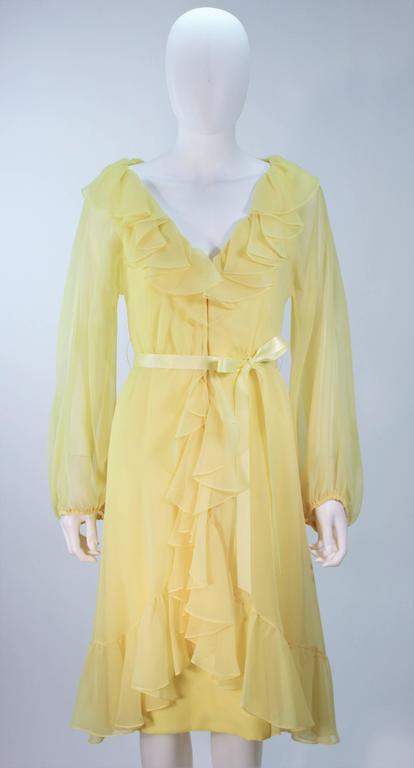 Travilla Yellow Ruffled Chiffon Dress With Billow Sleeves