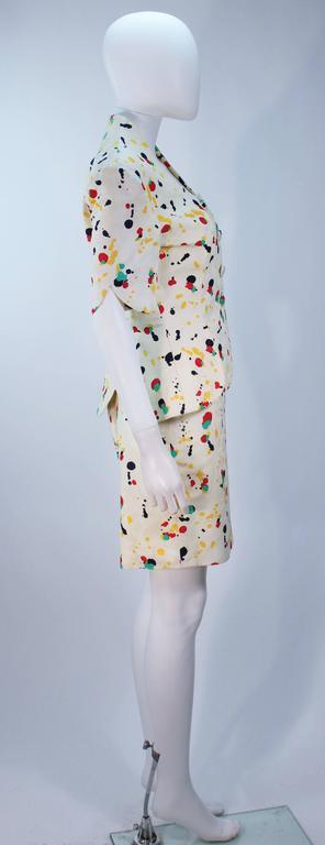 TRAVILLA Color Pop Paint Splatter Floral Skirt Suit Size 6 For Sale 1