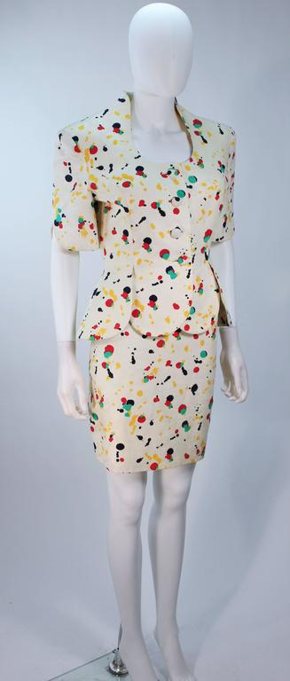 TRAVILLA Color Pop Paint Splatter Floral Skirt Suit Size 6 In Excellent Condition For Sale In Los Angeles, CA