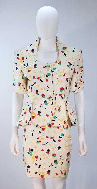 Gray TRAVILLA Color Pop Paint Splatter Floral Skirt Suit Size 6 For Sale