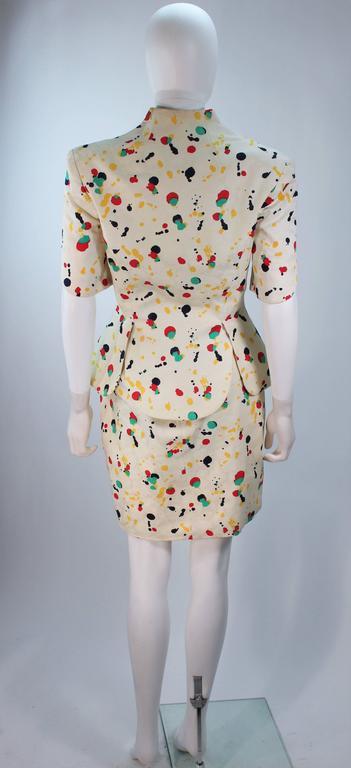 TRAVILLA Color Pop Paint Splatter Floral Skirt Suit Size 6 For Sale 2