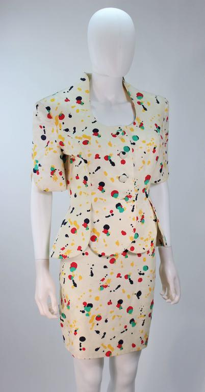 Women's TRAVILLA Color Pop Paint Splatter Floral Skirt Suit Size 6 For Sale
