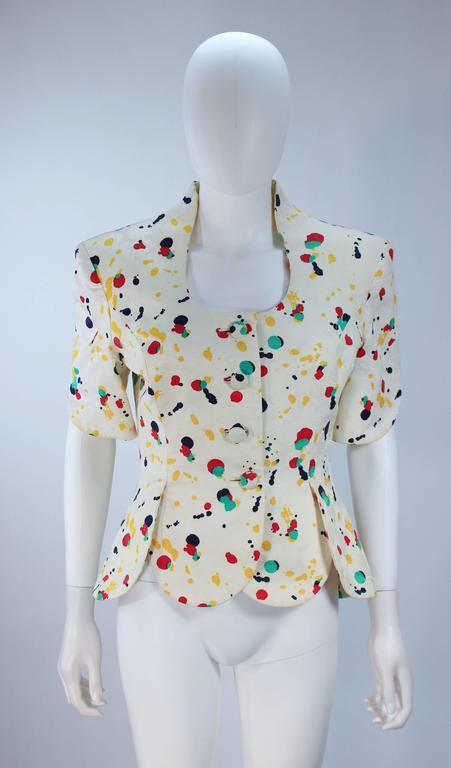 TRAVILLA Color Pop Paint Splatter Floral Skirt Suit Size 6 For Sale 3