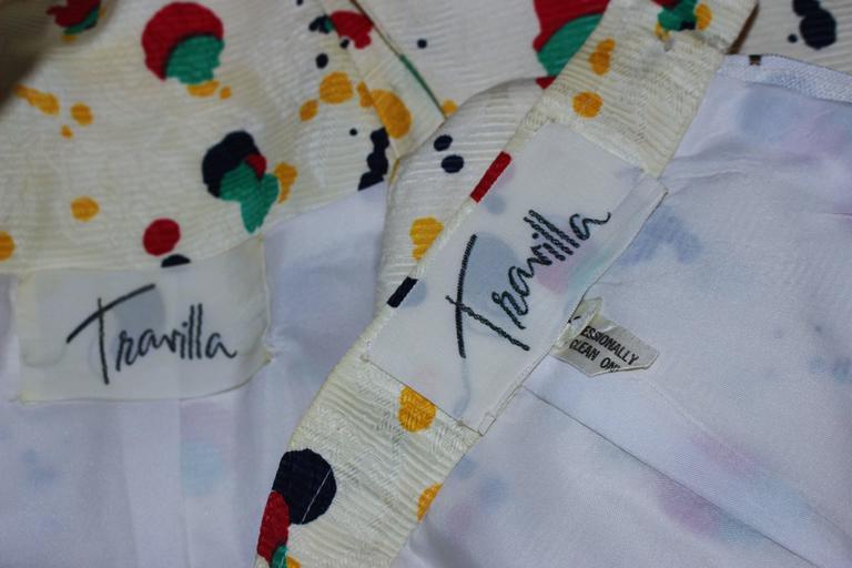 TRAVILLA Color Pop Paint Splatter Floral Skirt Suit Size 6 For Sale 5