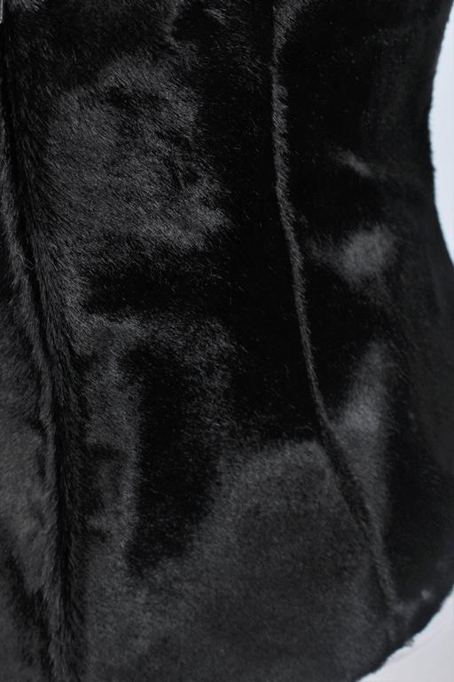 VERA WANG Black Cowhide Halter Bustier Size 8 9
