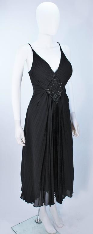 PACO RABANNE Black Silk Jerset Dress with Rhinestone Detail Size 42 4