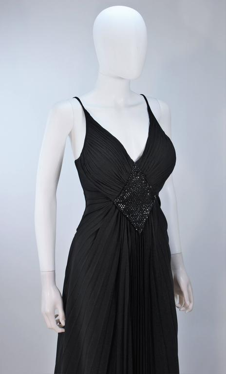 PACO RABANNE Black Silk Jerset Dress with Rhinestone Detail Size 42 5