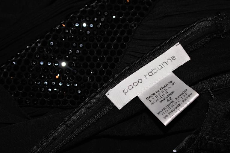 PACO RABANNE Black Silk Jerset Dress with Rhinestone Detail Size 42 10