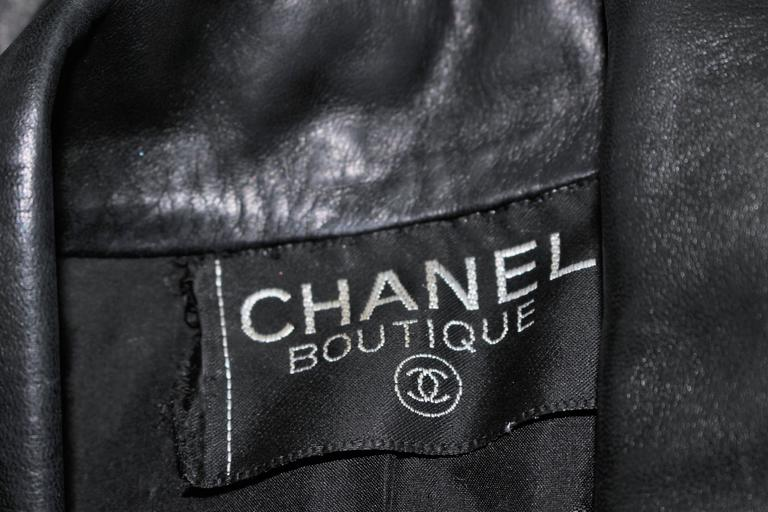 CHANEL Black Leather Jacket with Quilted Accent and Gold Buttons Size 8 For Sale 6