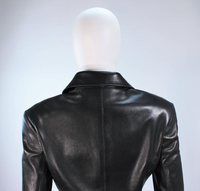 CHANEL Black Leather Jacket with Quilted Accent and Gold Buttons Size 8 For Sale 5