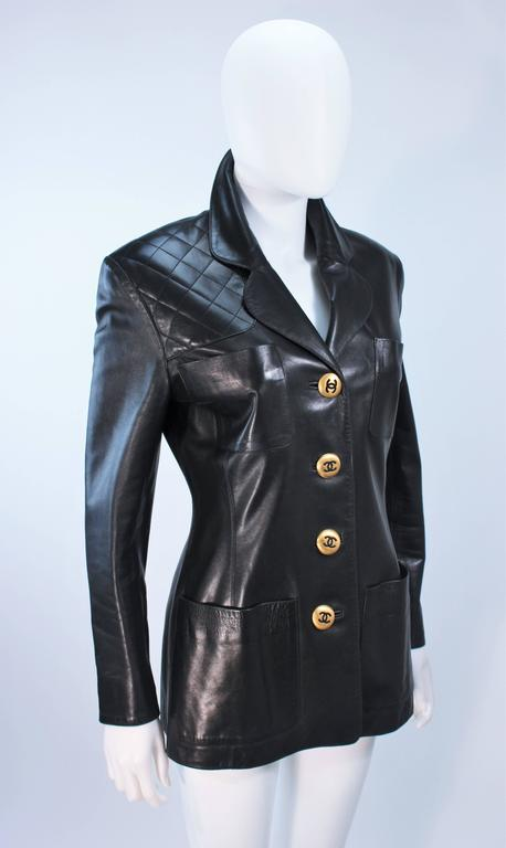 CHANEL Black Leather Jacket with Quilted Accent and Gold Buttons Size 8 For Sale 1