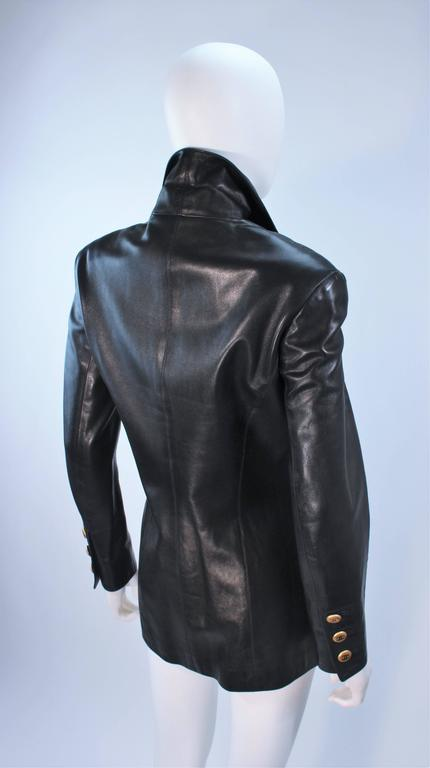 CHANEL Black Leather Jacket with Quilted Accent and Gold Buttons Size 8 For Sale 3