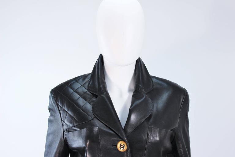 CHANEL Black Leather Jacket with Quilted Accent and Gold Buttons Size 8 In Excellent Condition For Sale In Los Angeles, CA