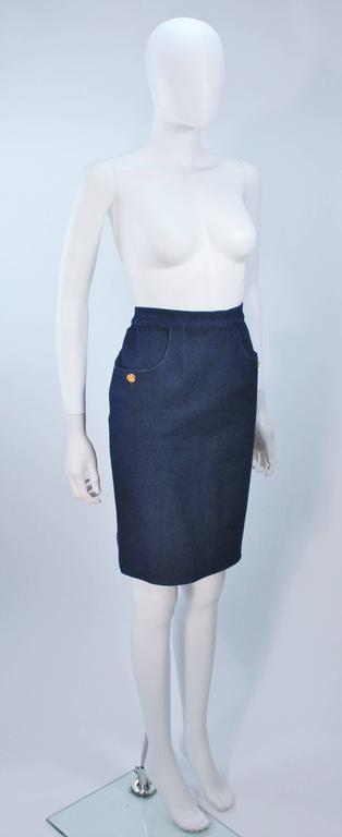 Women's CHANEL Stretch Denim Skirt with Buttons Size 6 For Sale