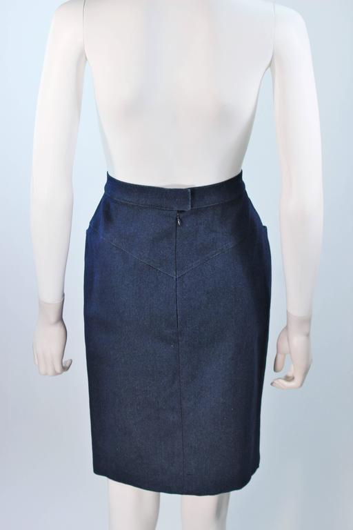 CHANEL Stretch Denim Skirt with Buttons Size 6 For Sale 4