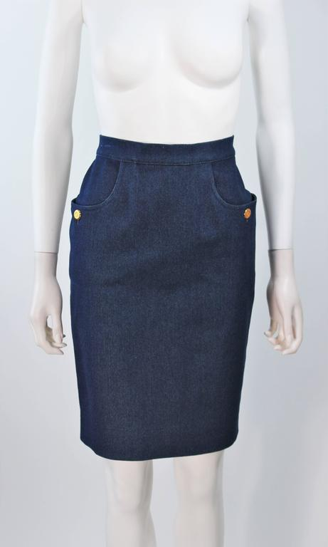 Black CHANEL Stretch Denim Skirt with Buttons Size 6 For Sale