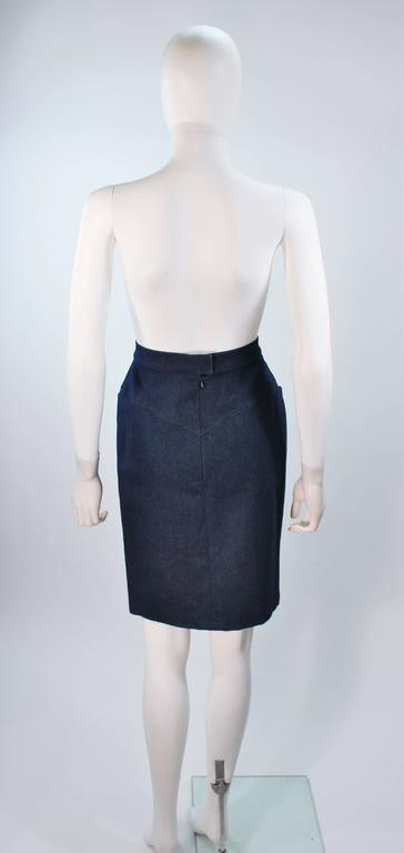 CHANEL Stretch Denim Skirt with Buttons Size 6 For Sale 3
