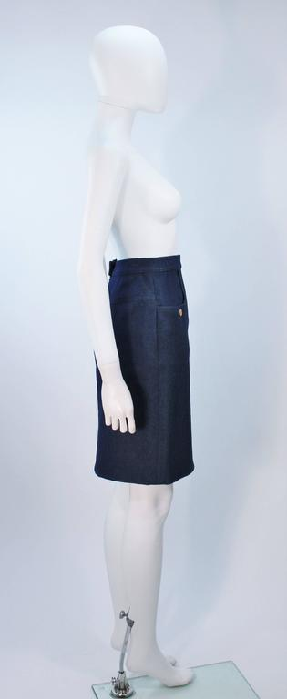 CHANEL Stretch Denim Skirt with Buttons Size 6 For Sale 1