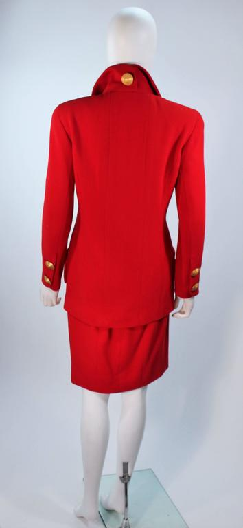 CHANEL RED WOOL SKIRT SUIT With GOLD BUTTONS SIZE 40 7