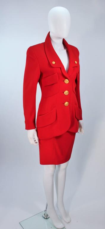 CHANEL RED WOOL SKIRT SUIT With GOLD BUTTONS SIZE 40 5