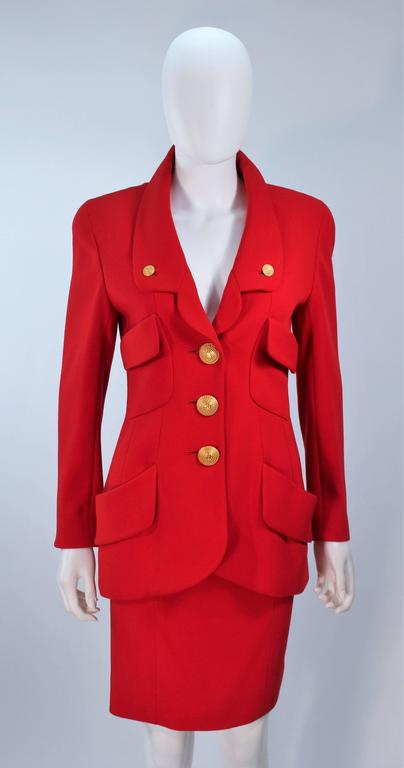 CHANEL RED WOOL SKIRT SUIT With GOLD BUTTONS SIZE 40 2