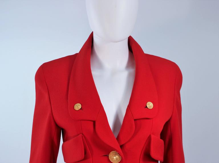 CHANEL RED WOOL SKIRT SUIT With GOLD BUTTONS SIZE 40 3