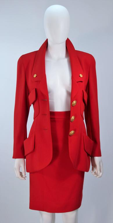 CHANEL RED WOOL SKIRT SUIT With GOLD BUTTONS SIZE 40 4