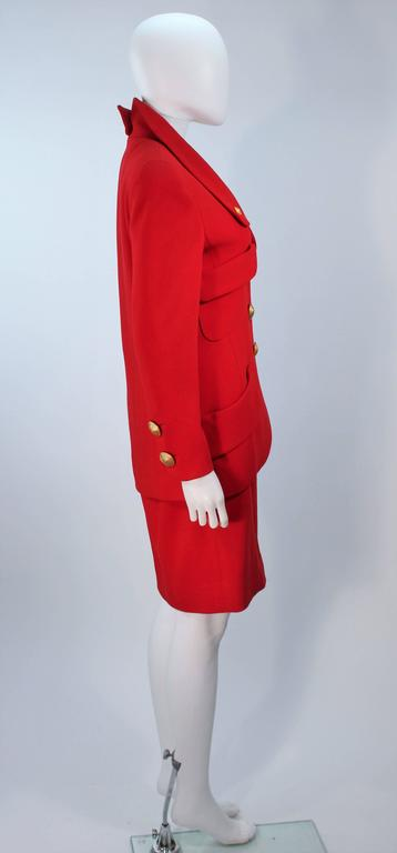 CHANEL RED WOOL SKIRT SUIT With GOLD BUTTONS SIZE 40 6