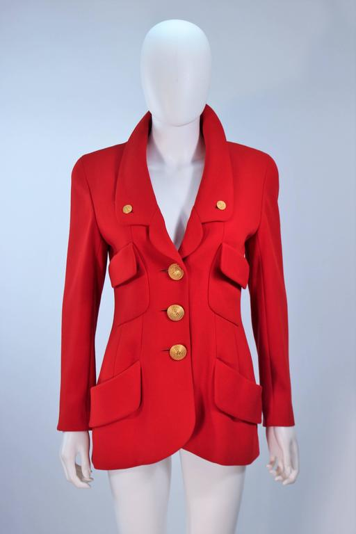 CHANEL RED WOOL SKIRT SUIT With GOLD BUTTONS SIZE 40 8