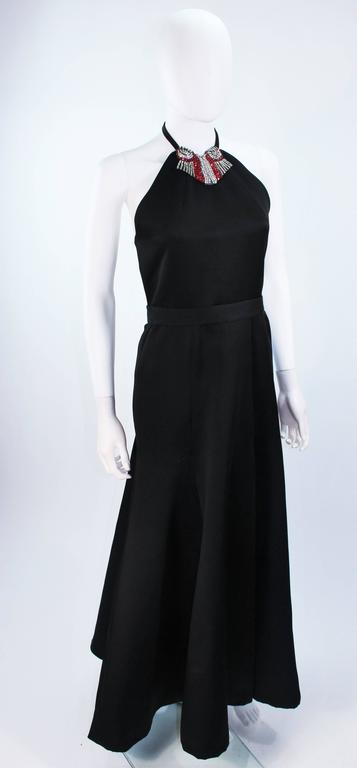 CHLOE Rare Black Satin Halter Gown with Jeweled Rhinestone Collar & Belt Size 8 5