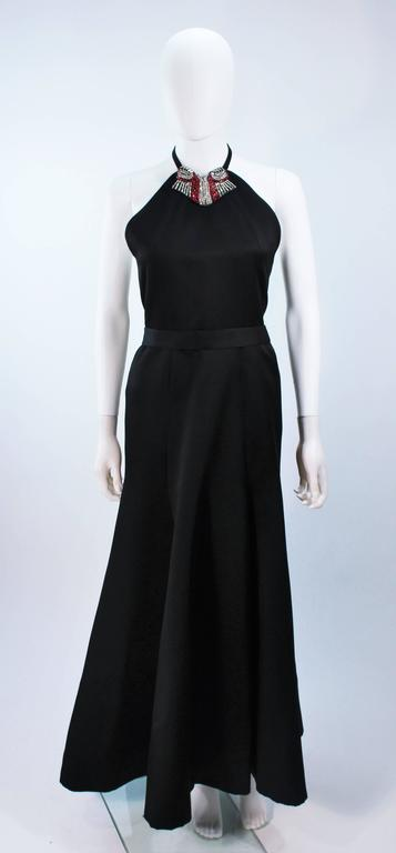 CHLOE Rare Black Satin Halter Gown with Jeweled Rhinestone Collar & Belt Size 8 2