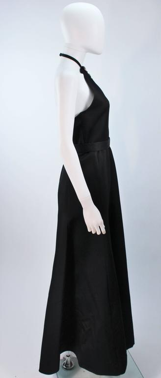 CHLOE Rare Black Satin Halter Gown with Jeweled Rhinestone Collar & Belt Size 8 6