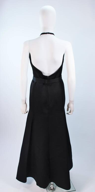 CHLOE Rare Black Satin Halter Gown with Jeweled Rhinestone Collar & Belt Size 8 7