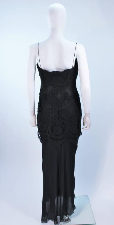 GALANOS Black Sheer Silk Chiffon Gown with Lace Applique & Wrap Size 8-10 8