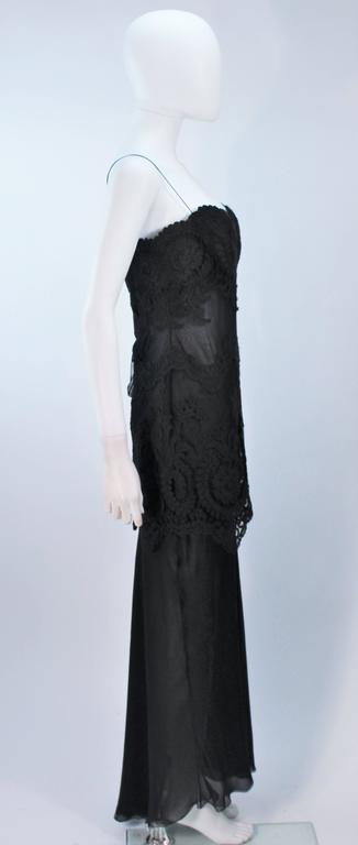 GALANOS Black Sheer Silk Chiffon Gown with Lace Applique & Wrap Size 8-10 7