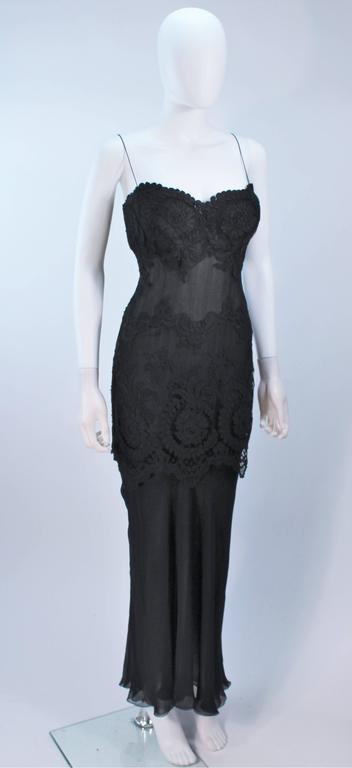 GALANOS Black Sheer Silk Chiffon Gown with Lace Applique & Wrap Size 8-10 4