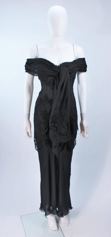GALANOS Black Sheer Silk Chiffon Gown with Lace Applique & Wrap Size 8-10 6