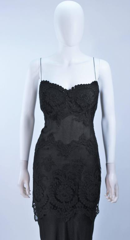 GALANOS Black Sheer Silk Chiffon Gown with Lace Applique & Wrap Size 8-10 2