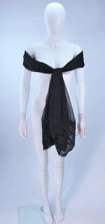 GALANOS Black Sheer Silk Chiffon Gown with Lace Applique & Wrap Size 8-10 9