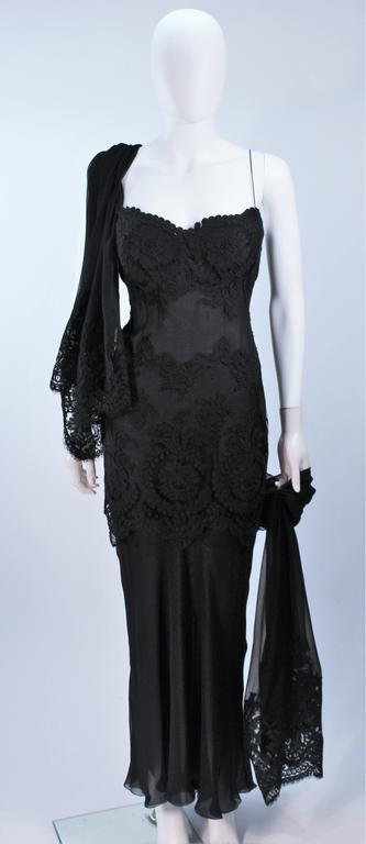 GALANOS Black Sheer Silk Chiffon Gown with Lace Applique & Wrap Size 8-10 5