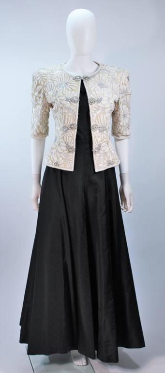 OSCAR DE LA RENTA Black Satin Gown and Embellished Jacket Ensemble Size 8 2