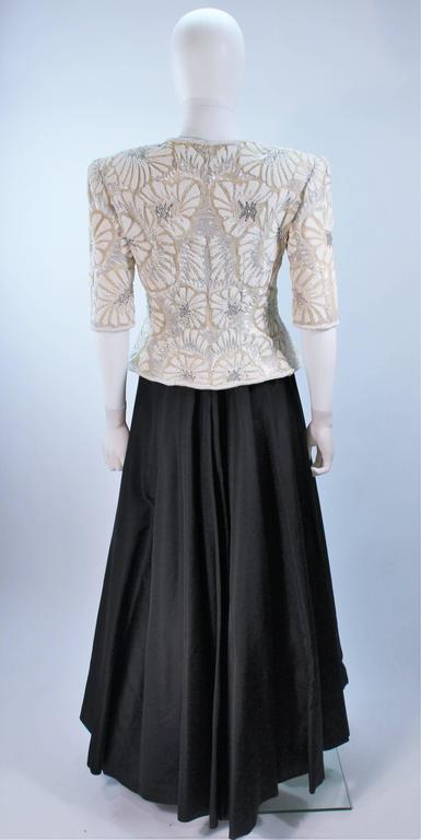 OSCAR DE LA RENTA Black Satin Gown and Embellished Jacket Ensemble Size 8 7