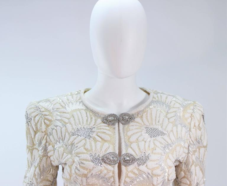 OSCAR DE LA RENTA Black Satin Gown and Embellished Jacket Ensemble Size 8 3