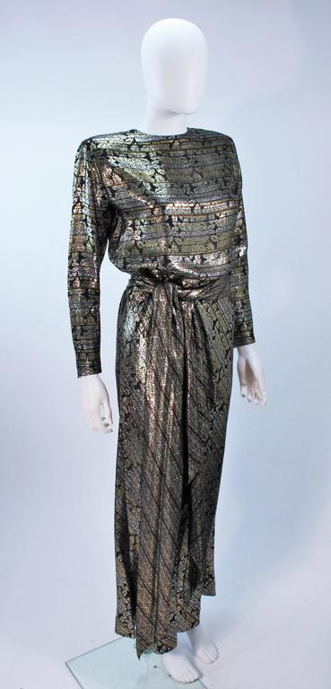 Women's RON LEAL Metallic Lame Bronze Ensemble with Scarf & Wrap Size 6-8 For Sale